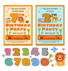 children birthday party invitation card vector image