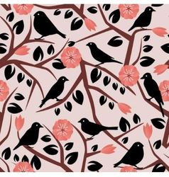 seamless background with branches leaves birds a vector image