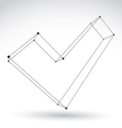 3d mesh monochrome validation sign isolated on vector