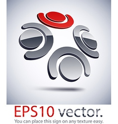 3d modern teamwork logo icon vector