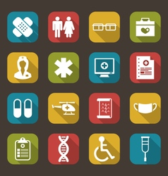 Set trendy flat medical icons vector
