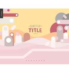 Pink and yellow design landscape template vector