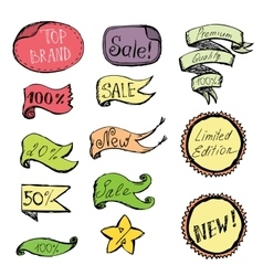 Hand drawn colored doodle label ribbon and design vector
