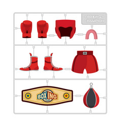 boxing set collection champion gloves and vector image