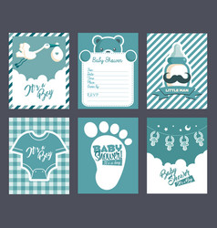 Boy blue baby shower invitation greeting cards vector