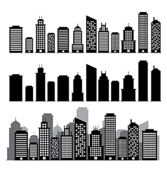 Building black and white icon set vector