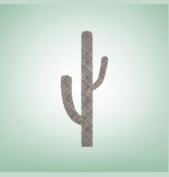 Cactus simple sign brown flax icon on vector
