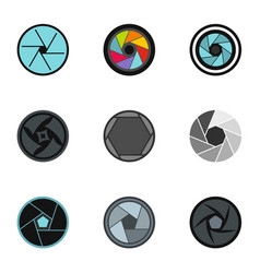 Camera aperture icons set flat style vector