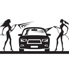 Car wash with fashion models vector image vector image