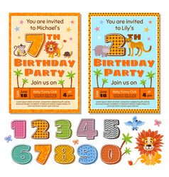 children birthday party invitation card vector image vector image