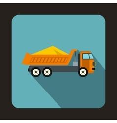 Dump truck icon flat style vector
