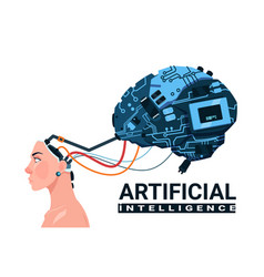 female head with modern cyborg brain isolated on vector image