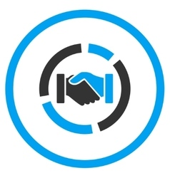 Handshake diagram rounded icon vector