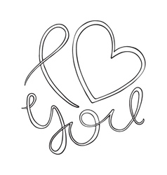 I love you love curly calligraphy sign vector