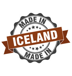 Made in iceland round seal vector