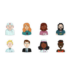 People of different professions icons in set vector