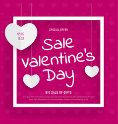 Pink web banner template for valentines day sale vector