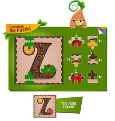 Puzzle letters of the alphabet z vector