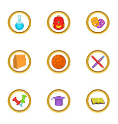 School equipment icons set cartoon style vector