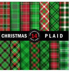 Set christmas tartan seamless patterns vector