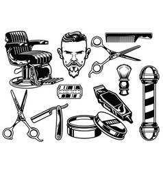 Set of barbershop objects vector