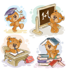 set of numbers with a fun teddy bear vector image vector image