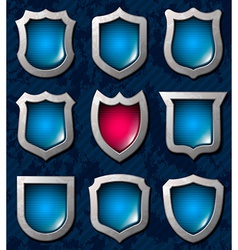 Set of shiny shields vector image