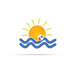 sun icon with beach ball color vector image