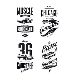 Tee-shirt logo isolated set vector