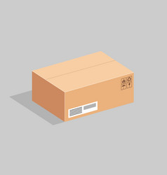 the cardboard box in a horizontal position on a vector image