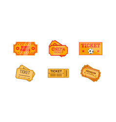 ticket icon set cartoon style vector image