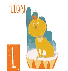 Vertical of lion with colorful circus background vector