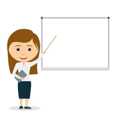 Young business woman giving a presentation vector image vector image