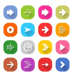 Flat arrow icon set square web button vector
