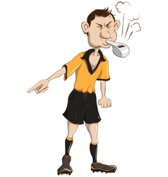 Soccer referee blows a whistle vector