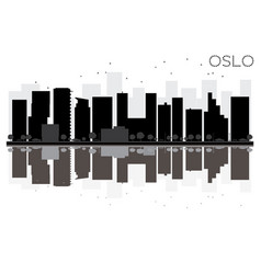 Oslo city skyline black and white silhouette vector