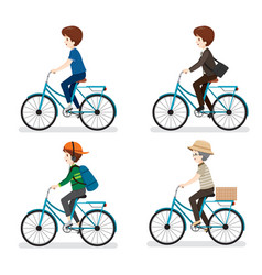 Set of man riding bicycle with different actions vector