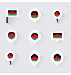 Malawi flag and pins for infographic and map vector