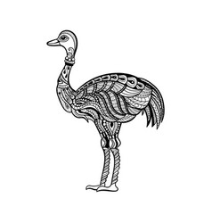 Ostrich in zentangle style vector