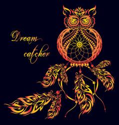dream catcher owl dark background vector image