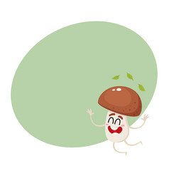 Funny porcini mushroom character jumping from vector