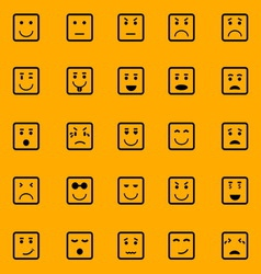 Square face icons on orange background vector