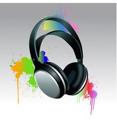 Headphones brush paint vector