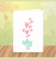 Happy birthday postcard with bird and heart vector