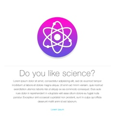 Science icon atom symbol entered in round shape vector