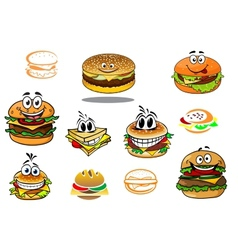 Happy takeaway cartoon hamburger characters vector