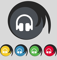 Headphones earphones icon sign symbol on five vector