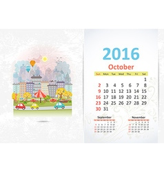 Cute sweet cityscape calendar for 2016 October vector image