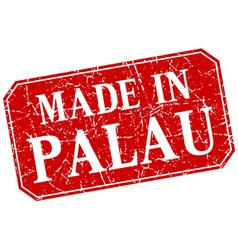 Made in palau red square grunge stamp vector