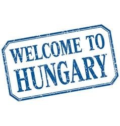 Hungary - welcome blue vintage isolated label vector